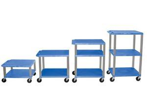 H.Wilson 3 Flat Shelf Rectangular Rolling Adjustable Height Multipurpose Lightweight Service Utility Tuffy AV Cart Casters ...