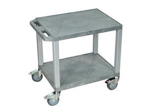 H. Wilson 2-Shelf Gray and Nickel Presentation Heavy-Duty Industrial All-Purpose Rolling Audio/Video Service Utility Cart ...