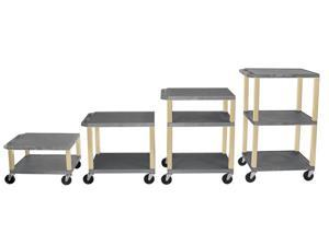 H. WILSON 3 Shelves Adjustable Height Multipurpose Mobile Rolling Tuffy Cart with 3 Electric Outlet