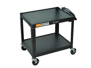 """Luxor AV26 Steel 26"""" Fixed Height 3 shelves AV Cart Black"""
