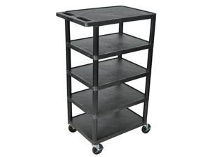 Luxor 5 Shelf Multipurpose Mobile Rolling Kitchen Hotel Banquet Utility Service Cart Black 24W x 46H