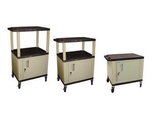 H. WILSON Adjustable Height Mobile Tuffy Multi Purpose Storage Cart With Cabinet Black and Putty