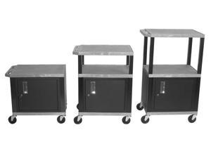 H. WILSON Adjustable Height Tuffy Mobile Multi Purpose Storage Utility Cart With Cabinet Gray Black Legs