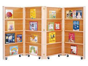 Jonti-Craft Mobile Foldable Kids Home School Play 4 Sections Shelf Wood Library Bookcase Center