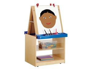 Jonti-Craft Kids Classroom Painting Foldable Whiteboard Write N Wipe 2 Station Art Easel Center Cabinet Storage