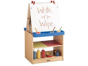 Jonti-Craft Maplewave Kids Classroom Painting Foldable Whiteboard Write N Wipe 2 Station Art Easel Center Cabinet Storage