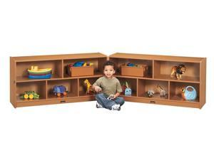 Jonti-Craft Sproutz Toddler Fold N Lock Mobile Wooden Multiple Shelf Toy Storage Cubby Organizer Unit Black