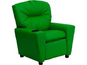 Flash Furniture Contemporary Green Vinyl Kids Recliner with Cup Holder [BT-7950-KID-GRN-GG] - OEM