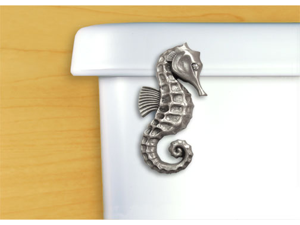 FunctionalFineArt Satin Pewter Seahorse Toilet Handle - Angled Tank Mount