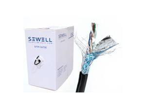 Sewell Bulk Cat5e, Solid, Pure Copper, 1000 ft SFTP UV Protect (CMX) 24 AWG, Black