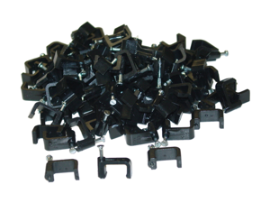Cable Wholesale Cable-Clip Black RG6-Dual - 100 pieces per bag