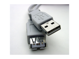 Gray - USB Extension, Fully Rated 24 AWG A to A receptacle, 3 feet