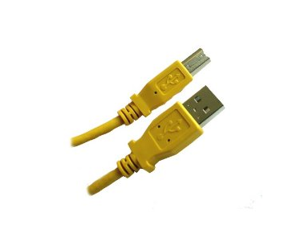 YELLOW - USB 2.0 Compliant A to B, 6 feet - High Speed USB Cable