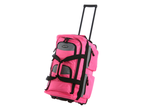 "Olympia 33"" 8 Pocket Sports Cargo Travel Rolling Duffel Carry-On Luggage Suitcase Tote Bag - Hot Pink"