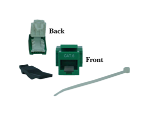 Cable Wholesale Cat 6 Keystone Jack, Green, Toolless, RJ45 Female