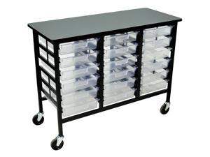 Luxor Home Office Mobile Multipurpose Storage Cart Three Column Certwood Bin System 12 Inch Clear Trays