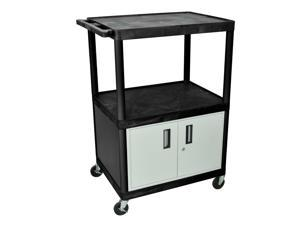 Luxor Mobile 3 Plastic Shelves Endura Video Table Presentation AV Cart With Locking Cabinet Black