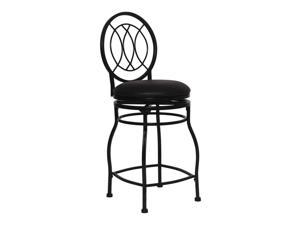 "Flash Furniture Home Office Kitchen 24"" Contemporary Metal Counter Height Stool With Black Leather Swivel Seat"