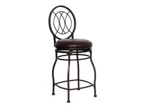 """Flash Furniture Home Office Kitchen 24"""" Contemporary Metal Counter Height Stool With Brown Leather Swivel Seat"""