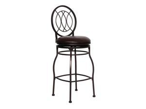 "Flash Furniture Home Office Kitchen 29"" Contemporary Metal Bar Stool With Brown Leather Swivel Seat"