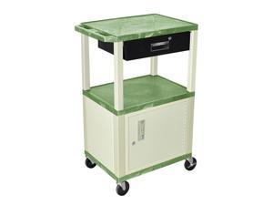 "H.Wilson Tuffy Cart With Cabinet 3 Shelves Putty Legs With Drawer Electric Included 42"" Green"