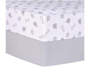 Trend-Lab Gray Safari and Dot 2 Pack Fitted Crib Sheets- Gray/White