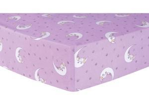 Trend-Lab Unicorn Moon Deluxe Flannel Fitted Crib Sheet - Purple/White/Yellow
