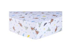 Trend-Lab Gone Ice Fishing Deluxe Flannel Fitted Crib Sheet -  Blue/Gray/White