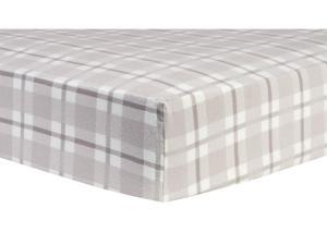 Trend-Lab Gray and White Plaid Deluxe Flannel Fitted Crib Sheet - Gray/White