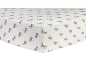 Trend-Lab Gray Moose Silhouettes Deluxe Flannel Fitted Crib Sheet - Gray/White