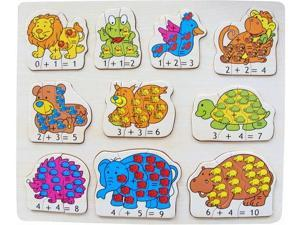 Puzzled Raised Puzzle Animals Math Wooden Toys