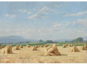 "FOV Editions Giclee Canvas Print Unframed 16"" X 20"" Modern Art Grain Stacks in France Lasndscape  By John B Fairbanks"