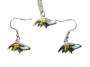 Baltimore Ravens Necklace and Dangle Earring Charm Set