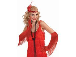 Satin Fringed Red Gloves - Flapper Costumes