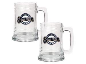 Milwaukee Brewers - 2pc 15oz Glass Tankard Set- Primary Logo