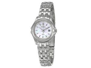 Seiko Le Grand Sport SXDE09 Women's Stainless Steel Quartz Analog Watch - Silver Band with Mother of Pearl Dial