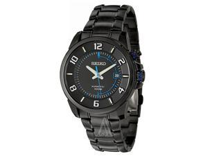 Seiko SKA555 Men's Kinetic Stainless Steel Analog Watch with Black Dial