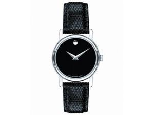 Movado 2100004 Women's Black Dial Leather Strap Quartz Analog Watch