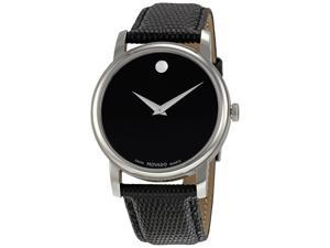 Movado Collection Men's Black Dial Leather Strap Quartz Analog Watch 2100002