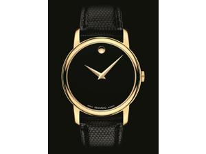Movado Collection 2100005 Men's Black Dial Leather Band Quartz Analog Watch