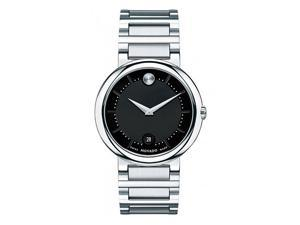 Movado Concerto 0606541 Men's Black Dial Stainless Steel Swiss Analog Watch