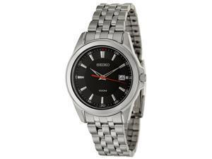 Seiko SGEG85 Men's Black Dial Stainless Steel Analog Quartz Watch