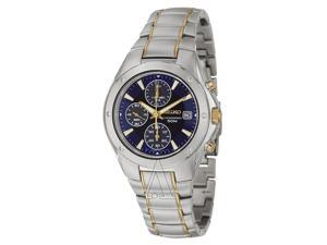 Seiko SND585 Men's Blue Dial Gold Plated Stainless Steel Chronograph Watch