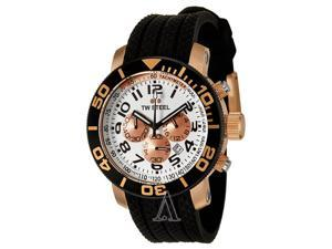 TW Steel Men's Grandeur Diver Chronograph White Dial Black Textured Rubber