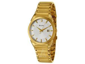 Bulova Men's Gold Plated Date Bracelet Watch 97B108