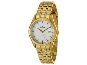 Bulova 97B109 Men's Gold Stainless-Steel Quartz Watch with White Dial