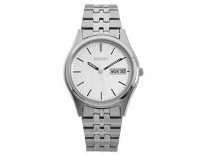 Seiko SGGA51 Men's Stainless Steel Quartz Analog Watch, Silver Band with White Dial