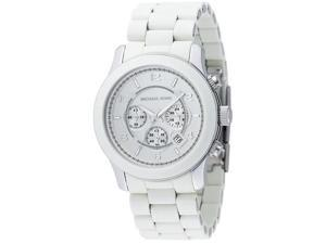 ichael Kors Men's Chronograph Silver Dial White Polyurethane and Stainless Steel