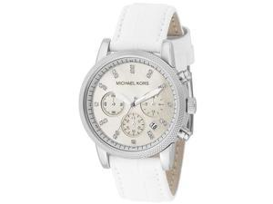 Michael Kors Women's Chronograph White Crystal White Embossed Leather