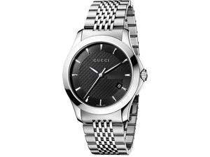 Gucci Stainless Steel Bracelet Black Dial Men's Watch #YA126402